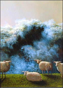 Sheep in storm