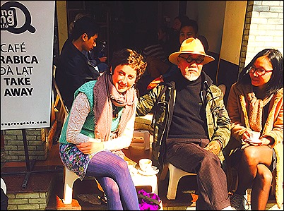 TC with Nha Thuyen and Kaitlin Rees in front of Reng Reng Coffee House - 6