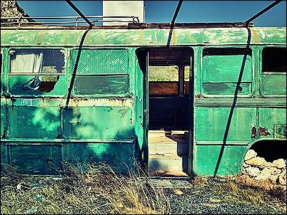 green run down bus